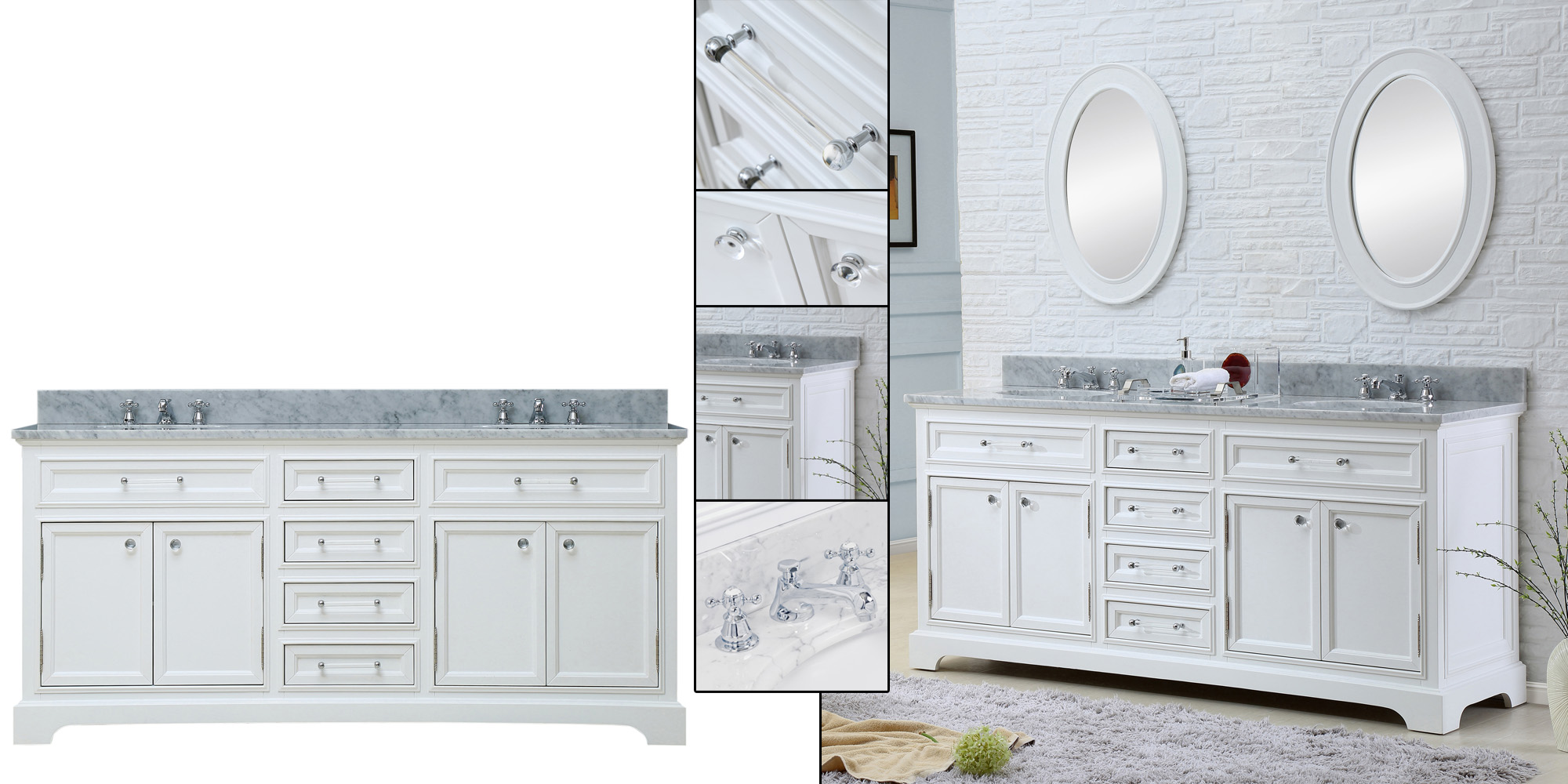 "Water Creation Derby 60WF 60"" Solid White Double Sink Bathroom Vanity And Faucet From The Derby Collection"
