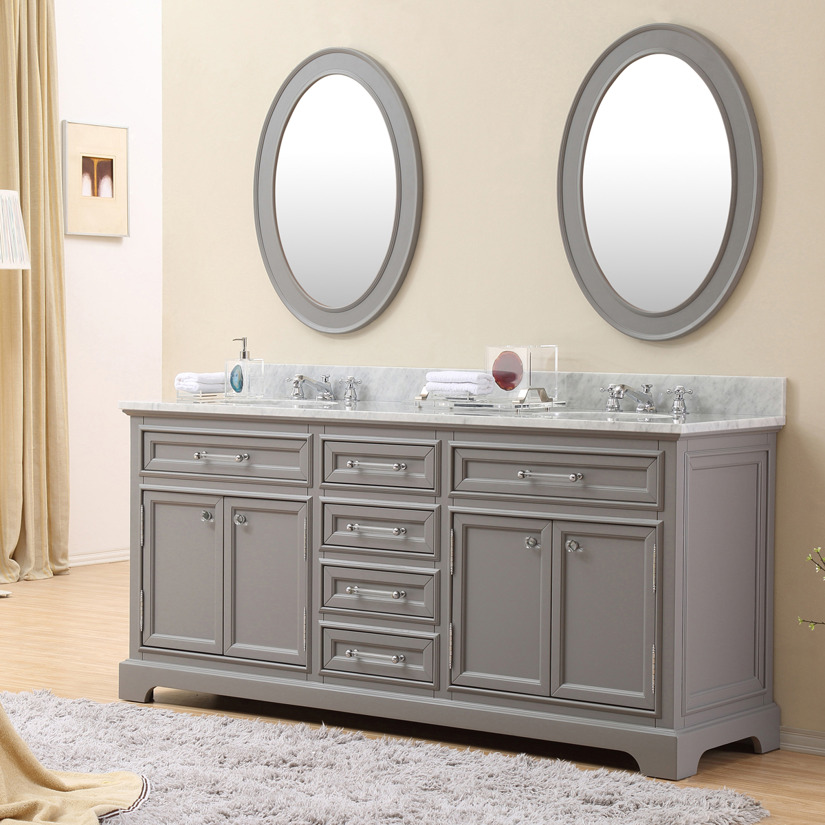 """Water Creation Derby 72GF 72"""" Cashmere Grey Double Sink Bathroom Vanity And Faucet"""