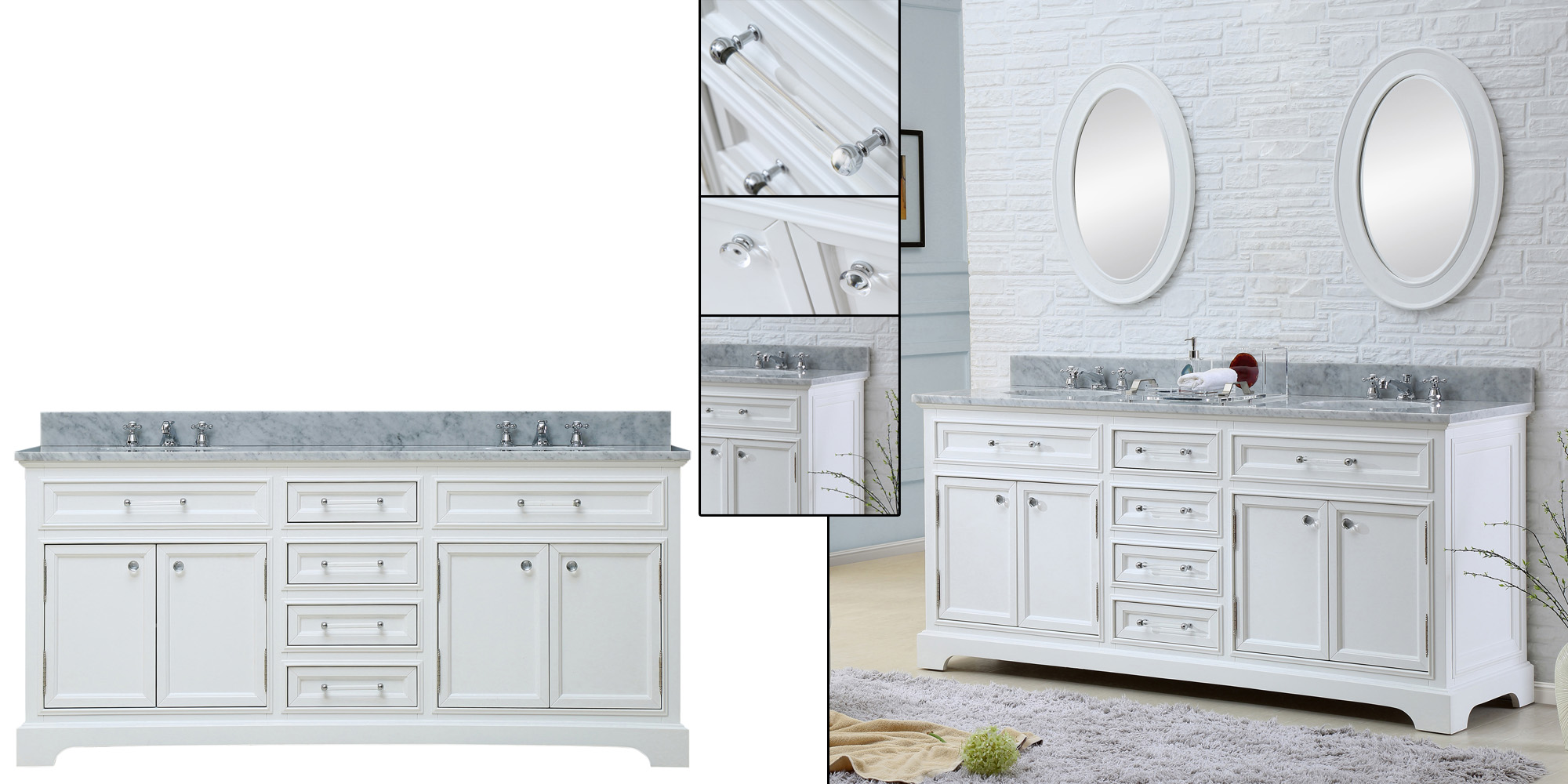 """Water Creation Derby 72W 72"""" Solid White Double Sink Bathroom Vanity From The Derby Collection"""
