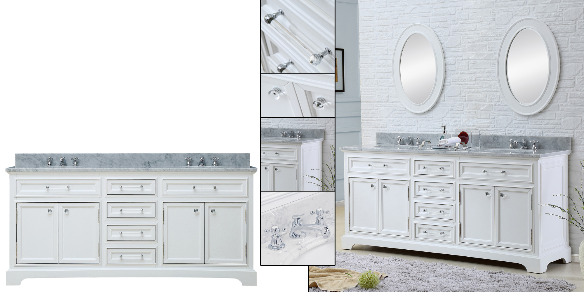 """Water Creation Derby 72WF 72"""" Solid White Double Sink Bathroom Vanity And Faucet From The Derby Collection"""