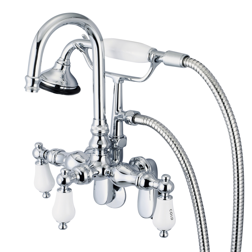 Adjustable Spread Wall Mount Tub Faucet With Gooseneck Spout, Swivel Wall Connector