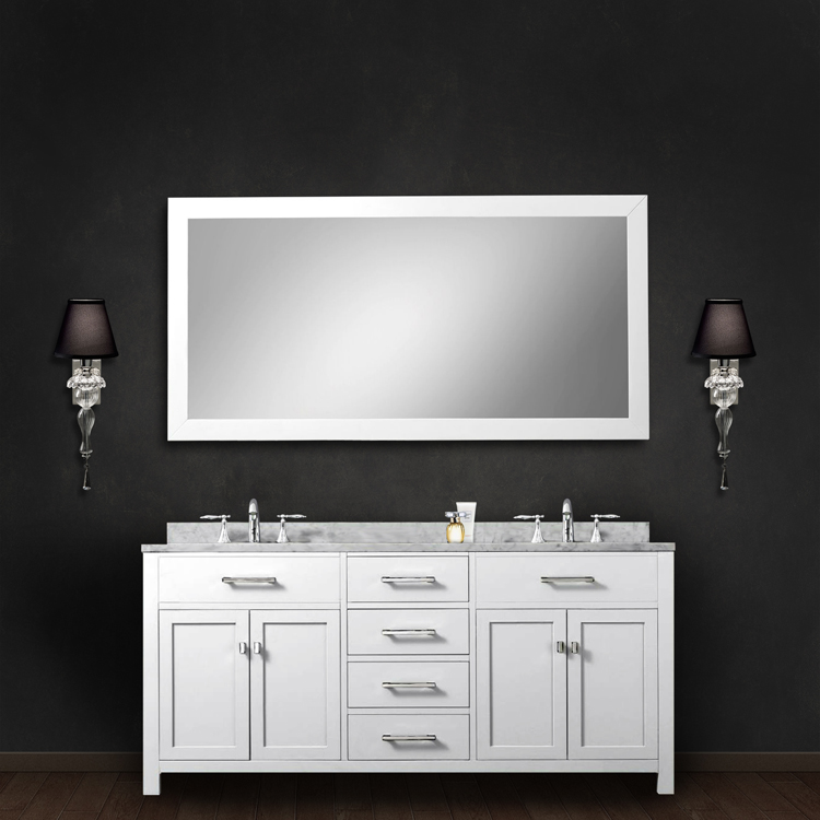 """Madison 60WB 60"""" Solid White Double Sink Bathroom Vanity With Matching Framed Mirror From The Madison Collection,"""