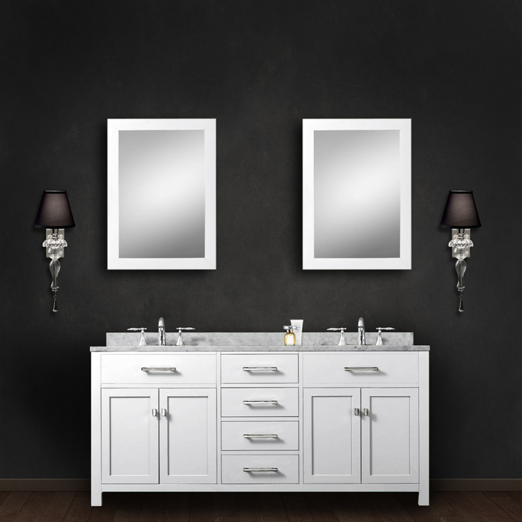 """Madison 60WC 60"""" Solid White Double Sink Bathroom Vanity With 2 Matching Framed Mirrors From The Madison Collecti"""