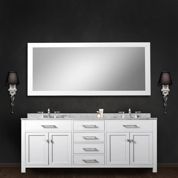 """Madison 72WB 72"""" Solid White Double Sink Bathroom Vanity With Matching Large Framed Mirror From The Madison Colle"""