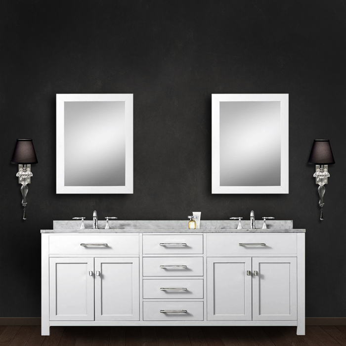 """Madison 72WC 72"""" Solid White Double Sink Bathroom Vanity With 2 Matching Framed Mirrors From The Madison Collecti"""