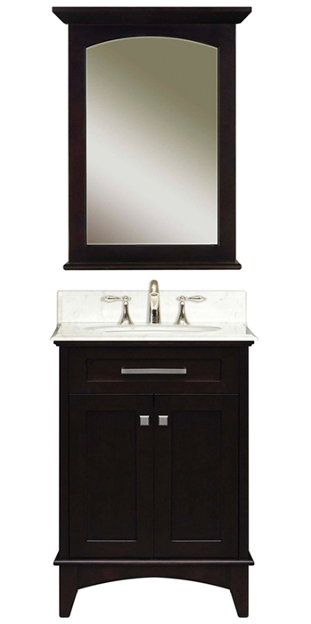 """Manhattan 24B 24"""" Dark Espresso Single Sink Bathroom Vanity & Manhattan-M-2130 Matching Mirror, Espresso"""