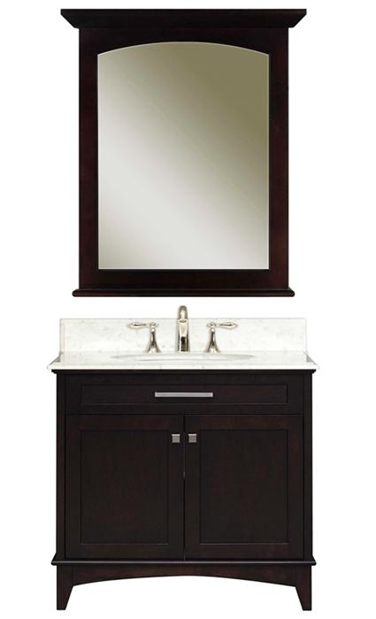 """Manhattan 30B 30"""" Dark Espresso Single Sink Bathroom Vanity & Manhattan-M-2430 Matching Mirror, Espresso"""
