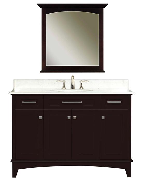 """Manhattan 48C 48"""" Dark Espresso Single Sink Bathroom Vanity & Manhattan-M-3030 Matching Mirror, Espresso"""