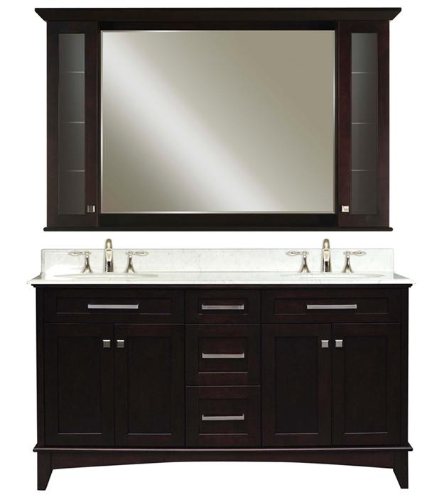 """Manhattan 60B 60"""" Dark Espresso Double Sink Bathroom Vanity And Manhattan-MC-6036 Matching Medicine Cabinet, Espr"""