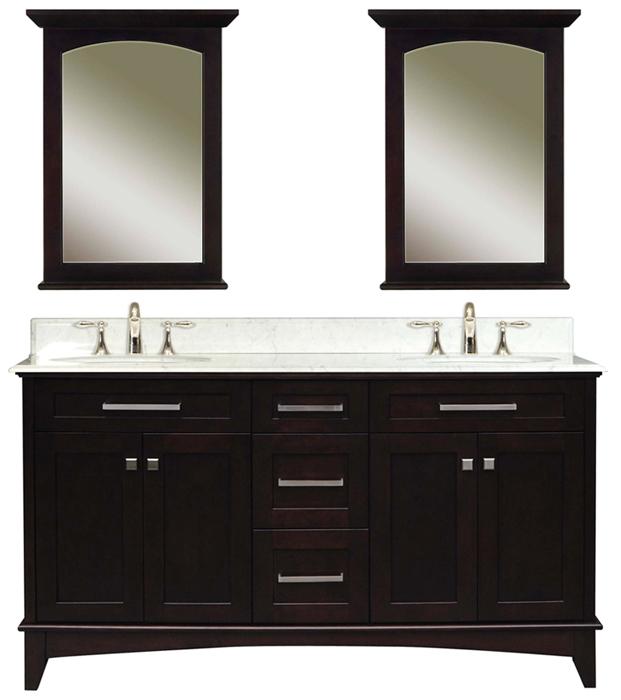 """Manhattan 60C 60"""" Dark Espresso Double Sink Bathroom Vanity And Two Manhattan-M-2130 Matching Mirrors, Espresso"""