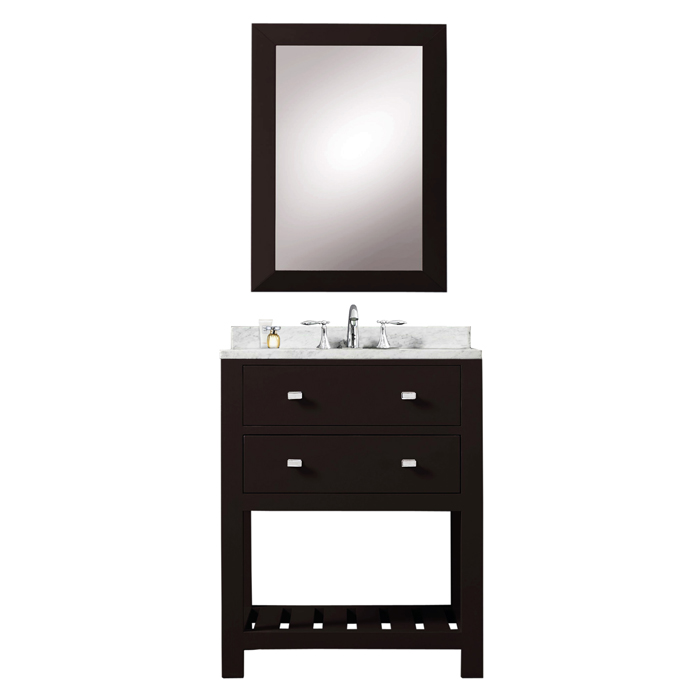 "24"" Espresso Single Sink Bathroom Vanity With Matching Framed Mirror From The Madalyn Collection"