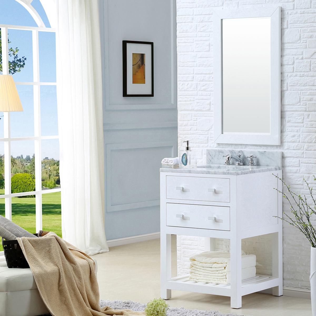 "Water Creation Madalyn 24WF 24"" Solid White Single Sink Bathroom Vanity And Faucet"