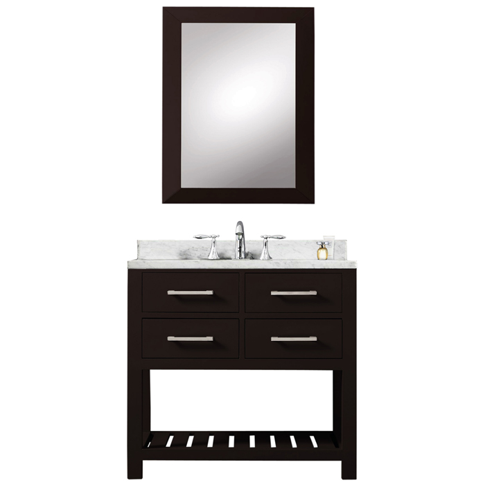 "30"" Espresso Single Sink Bathroom Vanity With Matching Framed Mirror From The Madalyn Collection"