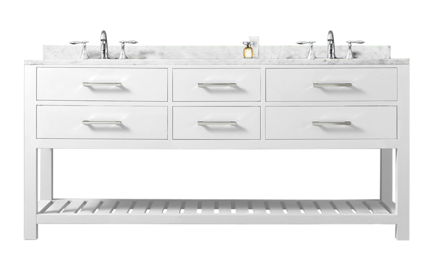 "60"" Solid White Double Sink Bathroom Vanity From The Madalyn Collection"