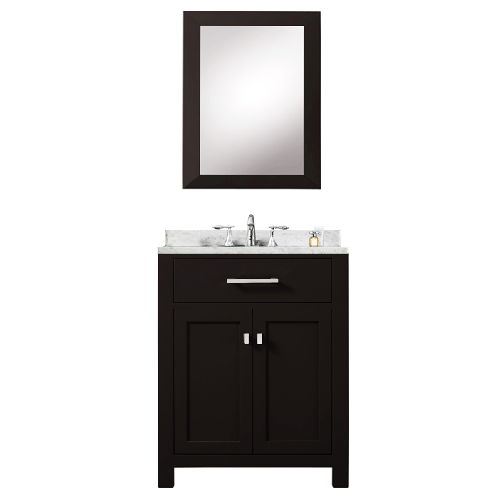 "24"" Espresso Single Sink Bathroom Vanity With Matching Framed Mirror From The Madison Collection"