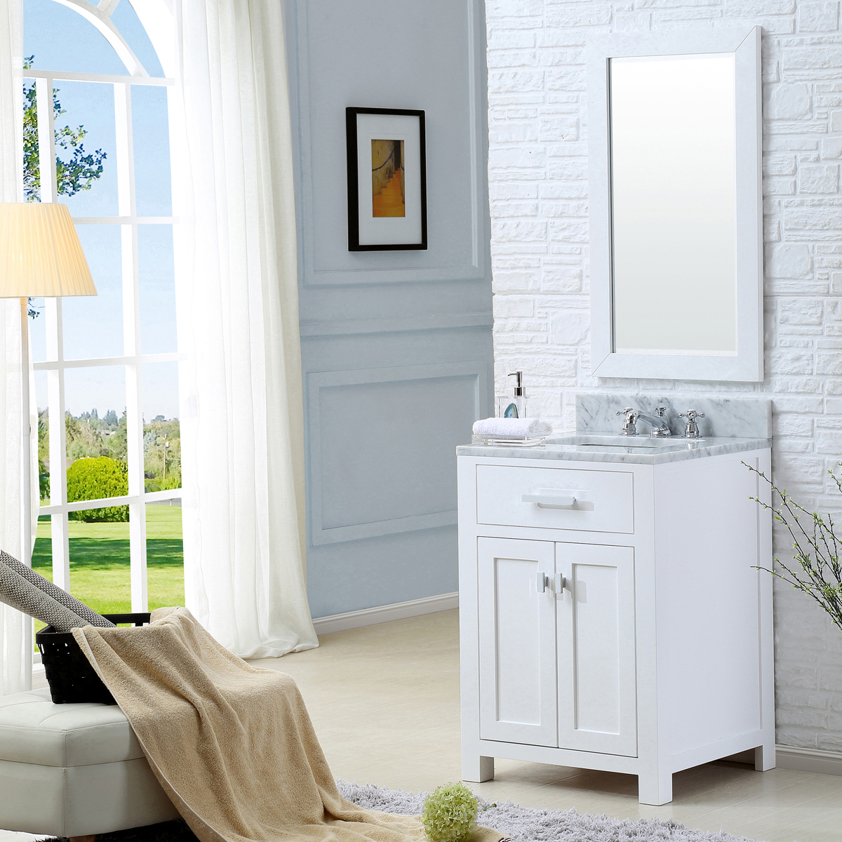 "Water Creation Madison 24WF 24"" Solid White Single Sink Bathroom Vanity And Faucet"