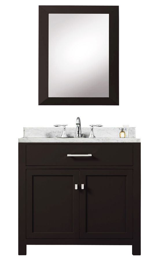 "30"" Espresso Single Sink Bathroom Vanity With Matching Framed Mirror From The Madison Collection"