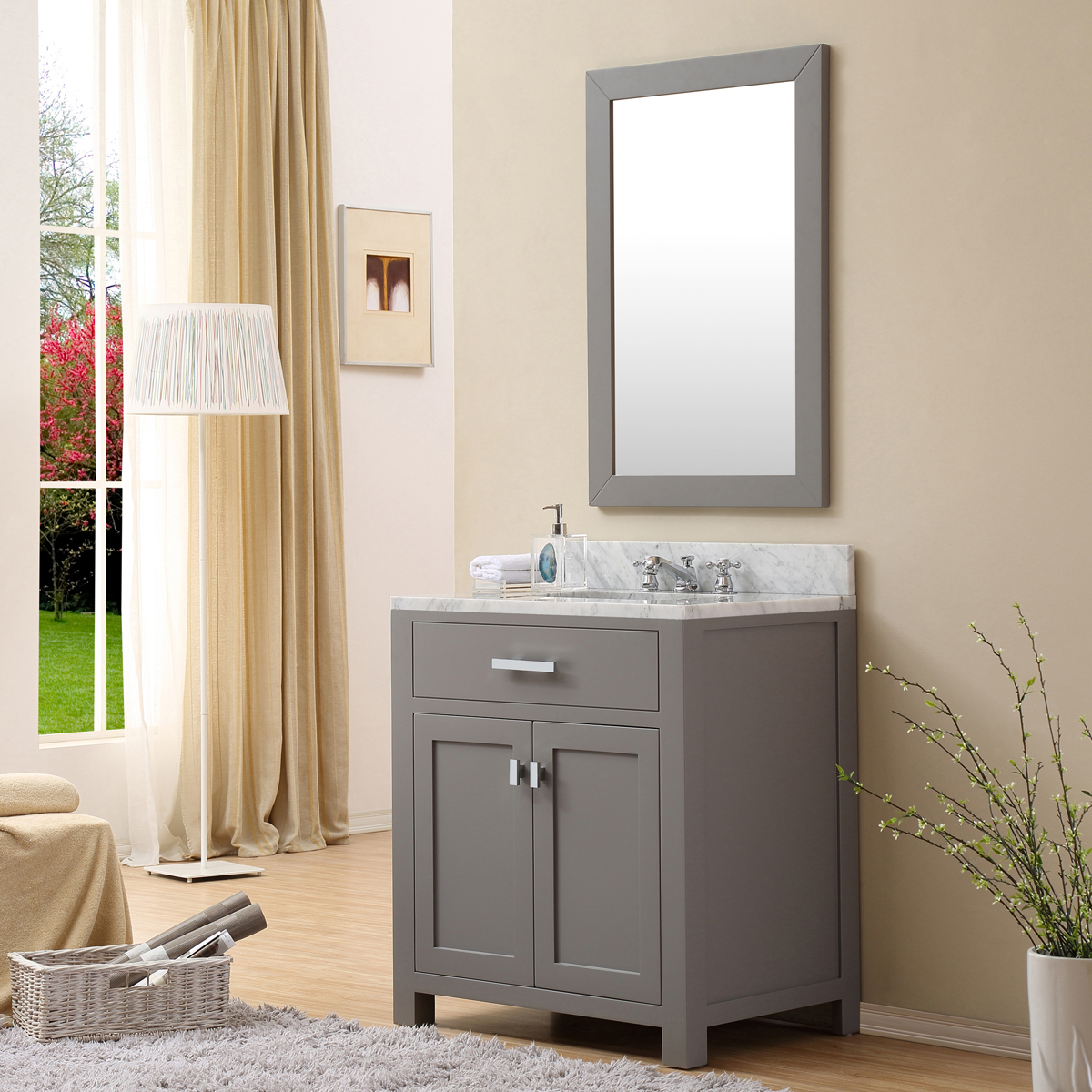 "Water Creation Madison 30GF 30"" Cashmere Grey Single Sink Bathroom Vanity And Faucet"