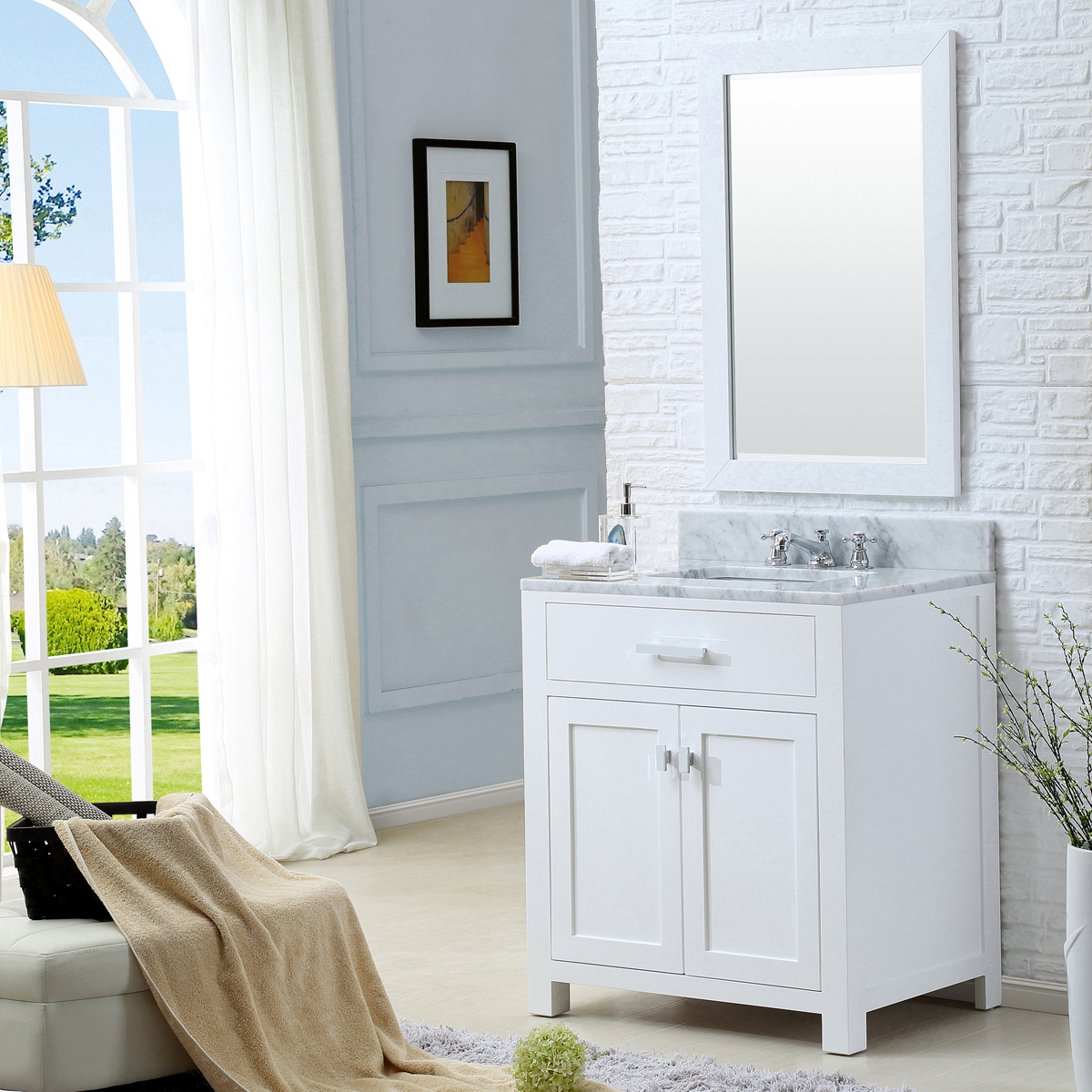 """Water Creation Madison 30WF 30"""" Solid White Single Sink Bathroom Vanity And Faucet"""