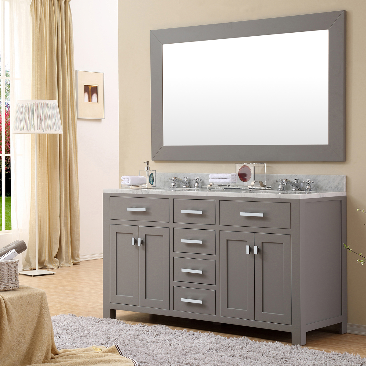 "Water Creation Madison 60GF 60"" Cashmere Grey Double Sink Bathroom Vanity And Faucet"