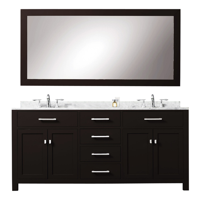 """Madison 72EB 72"""" Espresso Double Sink Bathroom Vanity With Matching Large Framed Mirror From The Madison Collecti"""