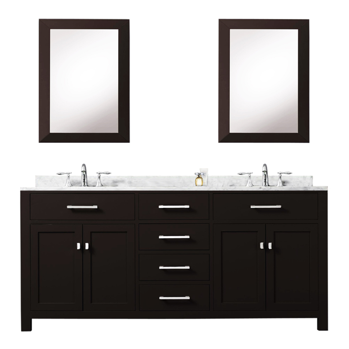 """Madison 72EC 72"""" Espresso Double Sink Bathroom Vanity With 2 Matching Framed Mirrors From The Madison Collection"""