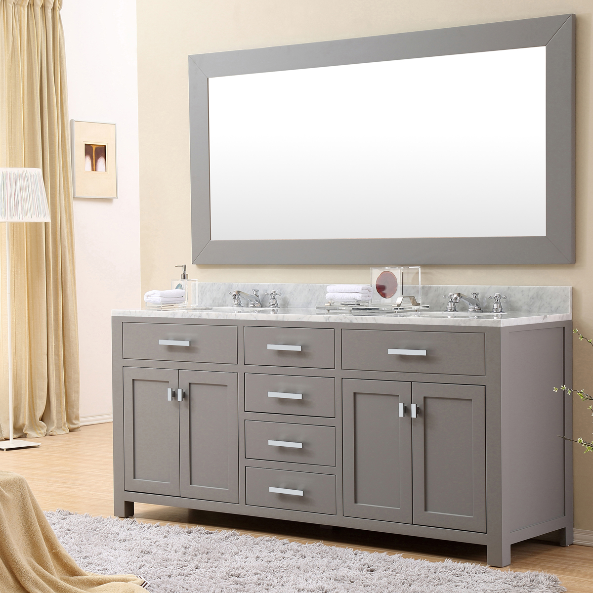 "Water Creation Madison 72GF 72"" Cashmere Grey Double Sink Bathroom Vanity And Faucet"