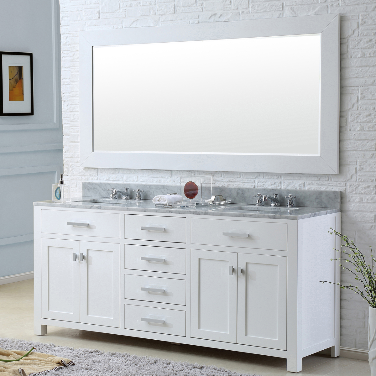 "Water Creation Madison 72WF 72"" Solid White Double Sink Bathroom Vanity And Faucet"