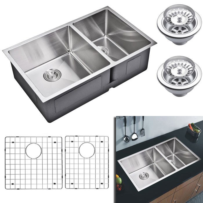"""Water Creation Inc. 33"""" X 20"""" 15 mm Corner Radius 50/50 Double Bowl Stainless Steel Hand Made Undermount Kitchen Sink W per EA at Sears.com"""