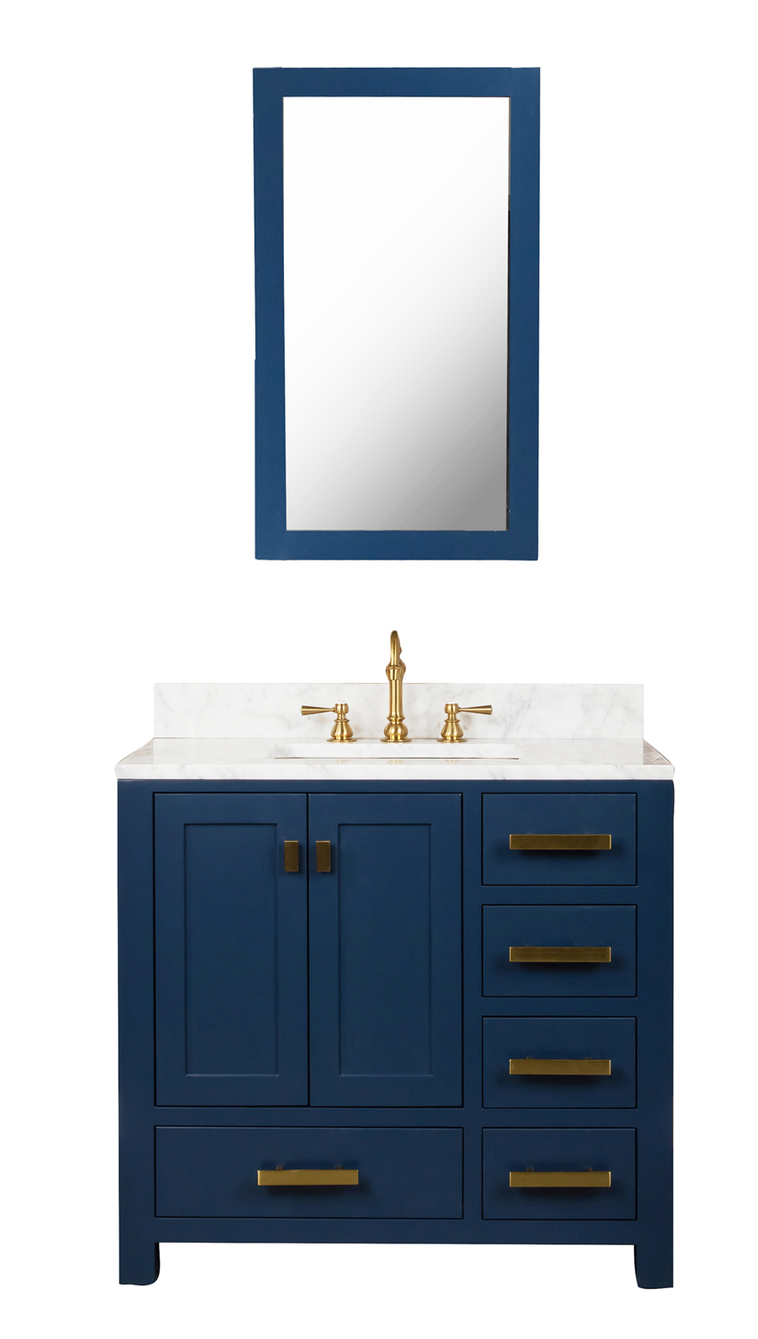Madison 36-Inch Single Sink Carrara White Marble Vanity In Monarch Blue