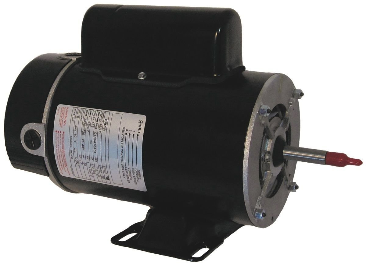 Motor, A.O.Smith, Thru-Bolt, 48-Frame, 2-Speed, 1.5HP, 115V, 16.4/4.4 Amp