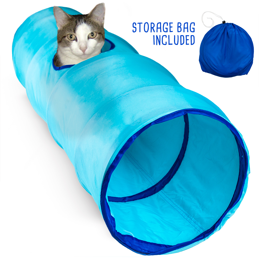 "52"" Blue Krinkle Cat Tunnel with Peek Hole and Storage Bag"