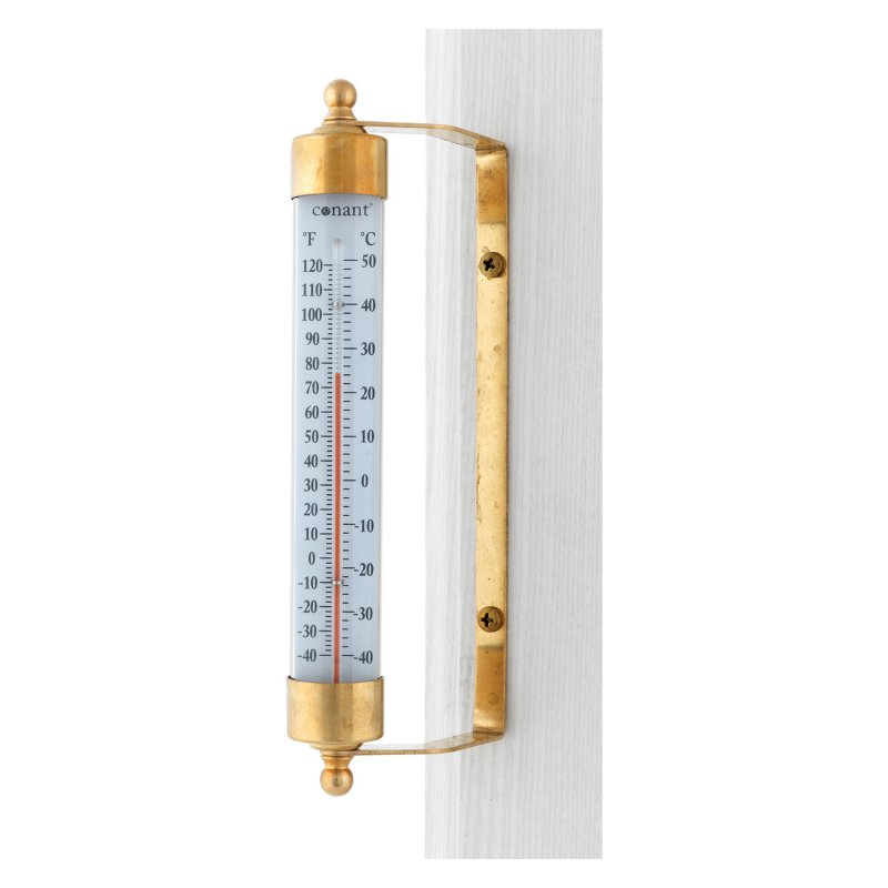 Vermont Indoor Outdoor Thermometer Living Finish Brass