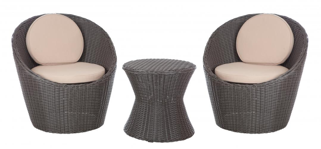 Bella Bolla Round Wicker 3pc. Bistro Set