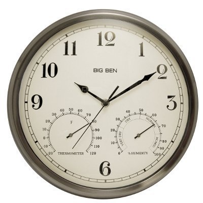 "BB 12"" Indoor Outdoor Clock Silver"