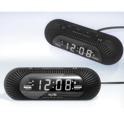 SXE Wht LED BT Clock Radio