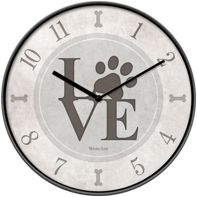 "10"" LOVE PAWS WALL CLOCK"