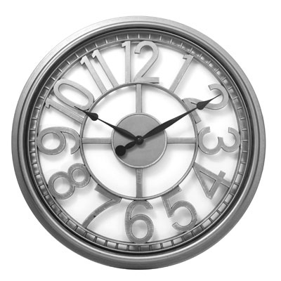 "20"" See Thru Wall Clock Silver"