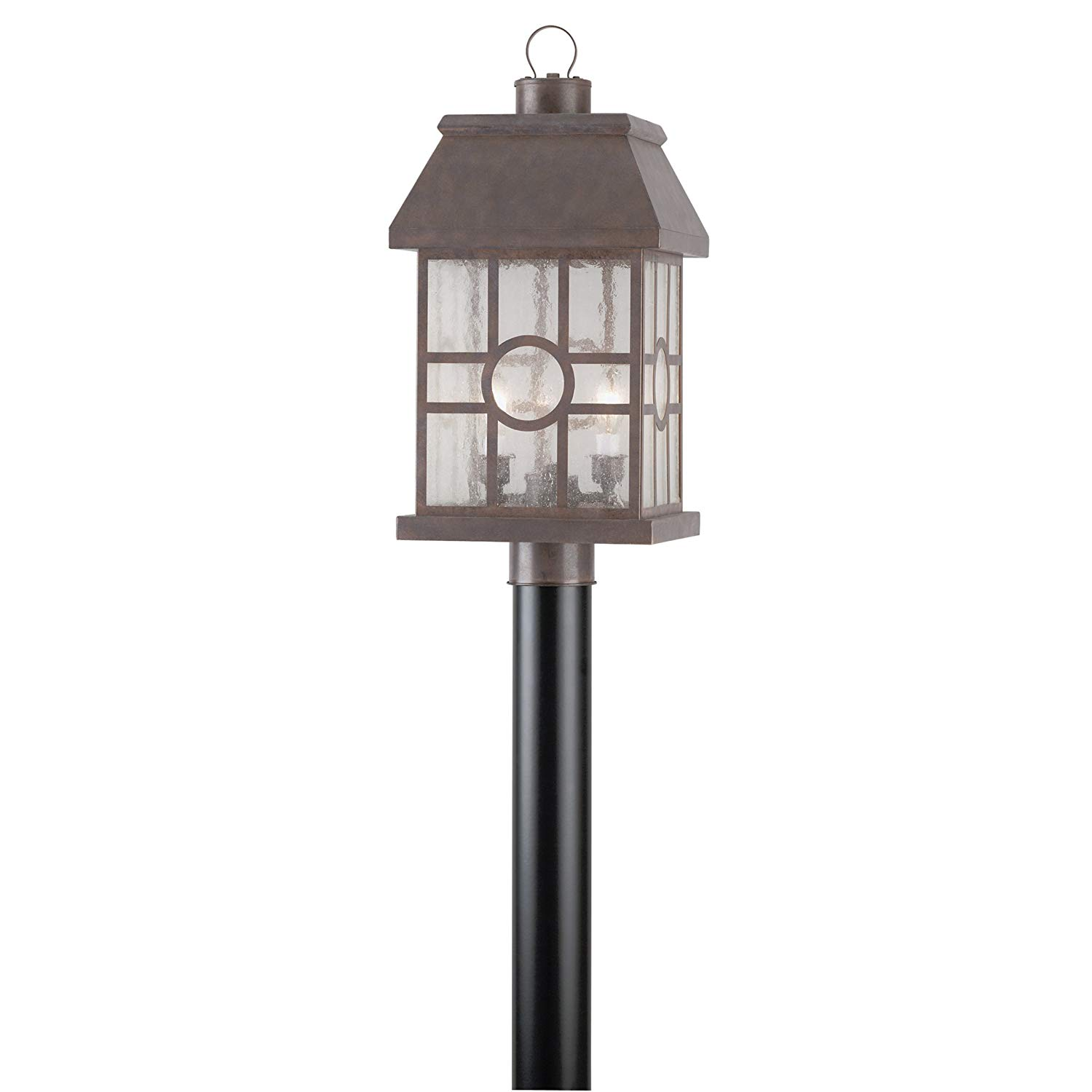 2 Light Post Top Lantern Burnt Sienna Finish on Solid Brass with Clear Seeded Glass Panels