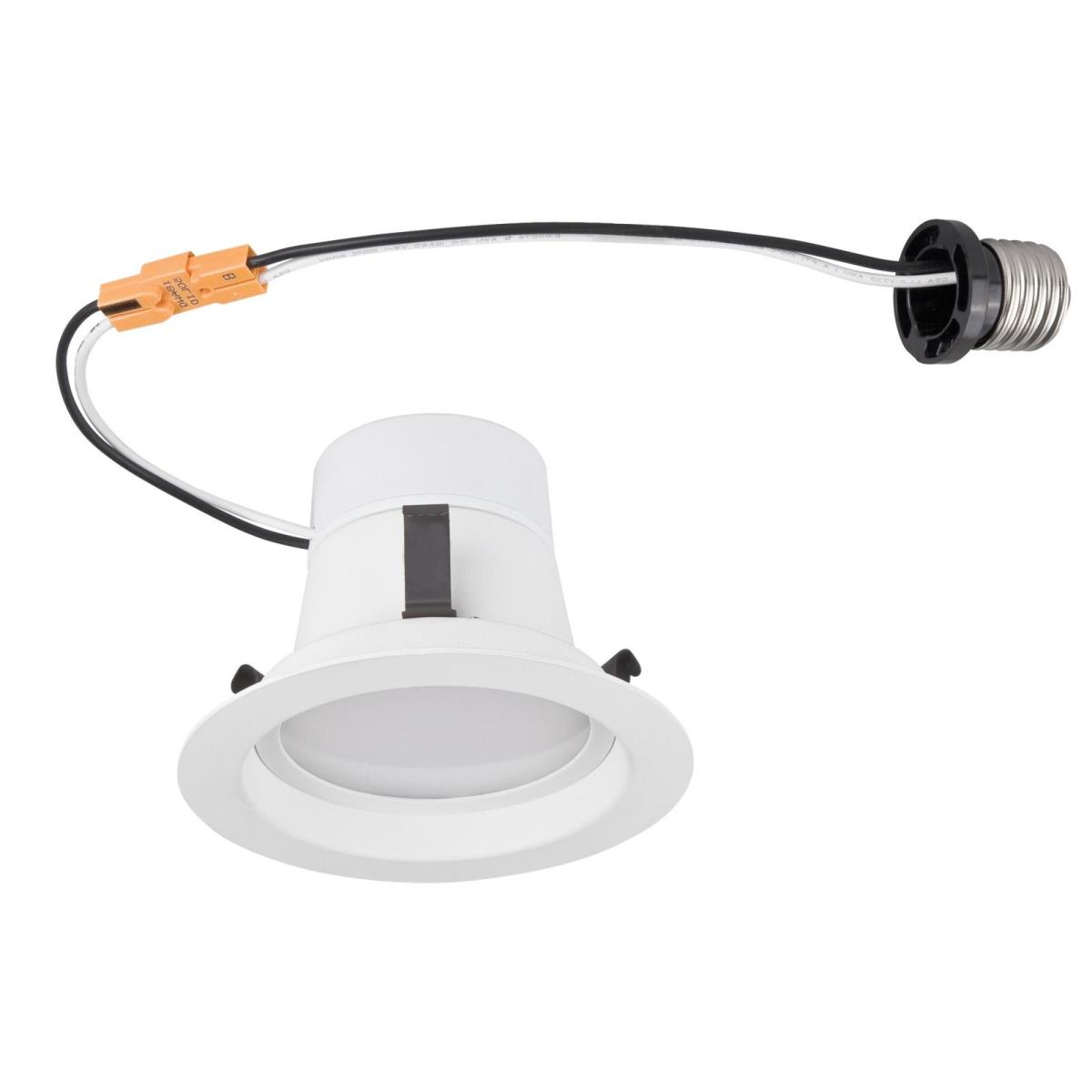 "8W 4"" Recessed Downlight LED Dimmable Warm White (2700K) E26 (Medium) Base Socket Adapter, Smooth Baffle, 120 Volt, Contractor B"