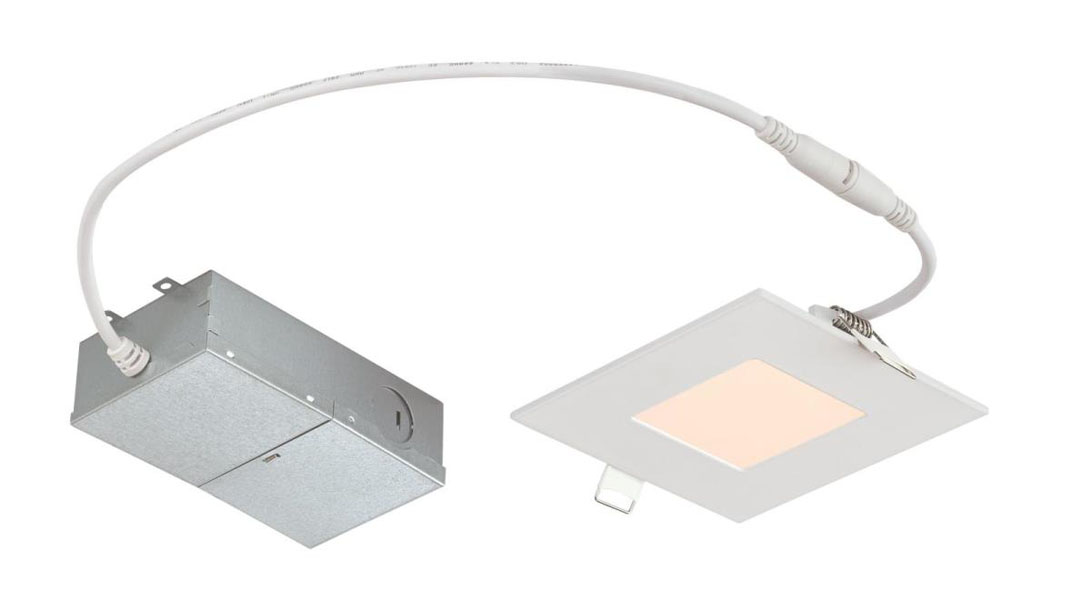 "10W Slim Square Recessed LED Downlight 4"" Dimmable 2700K, 120 Volt, Box"