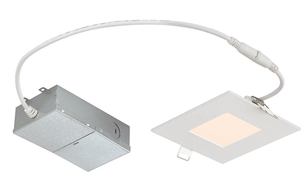 "10W Slim Square Recessed LED Downlight 4"" Dimmable 3000K, 120 Volt, Box"