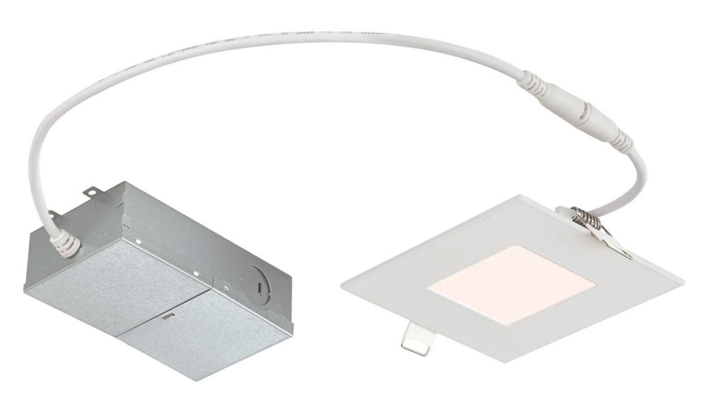 "10W Slim Square Recessed LED Downlight 4"" Dimmable 4000K, 120 Volt, Box"