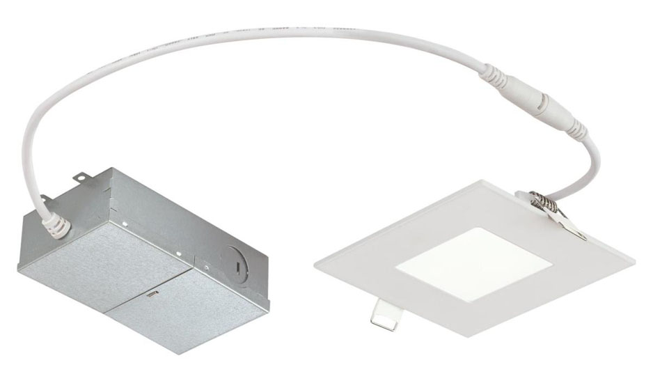 "10W Slim Square Recessed LED Downlight 4"" Dimmable 5000K, 120 Volt, Box"
