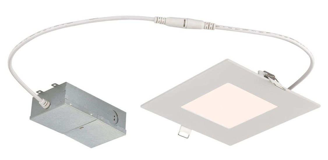 "12W Slim Square Recessed LED Downlight 6"" Dimmable 4000K, 120 Volt, Box"