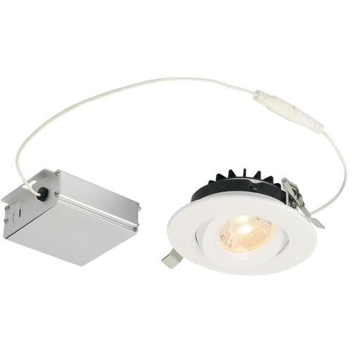 "12W Gimbal Recessed LED Downlight 4"" Dimmable 2700K, 120 Volt, Box"
