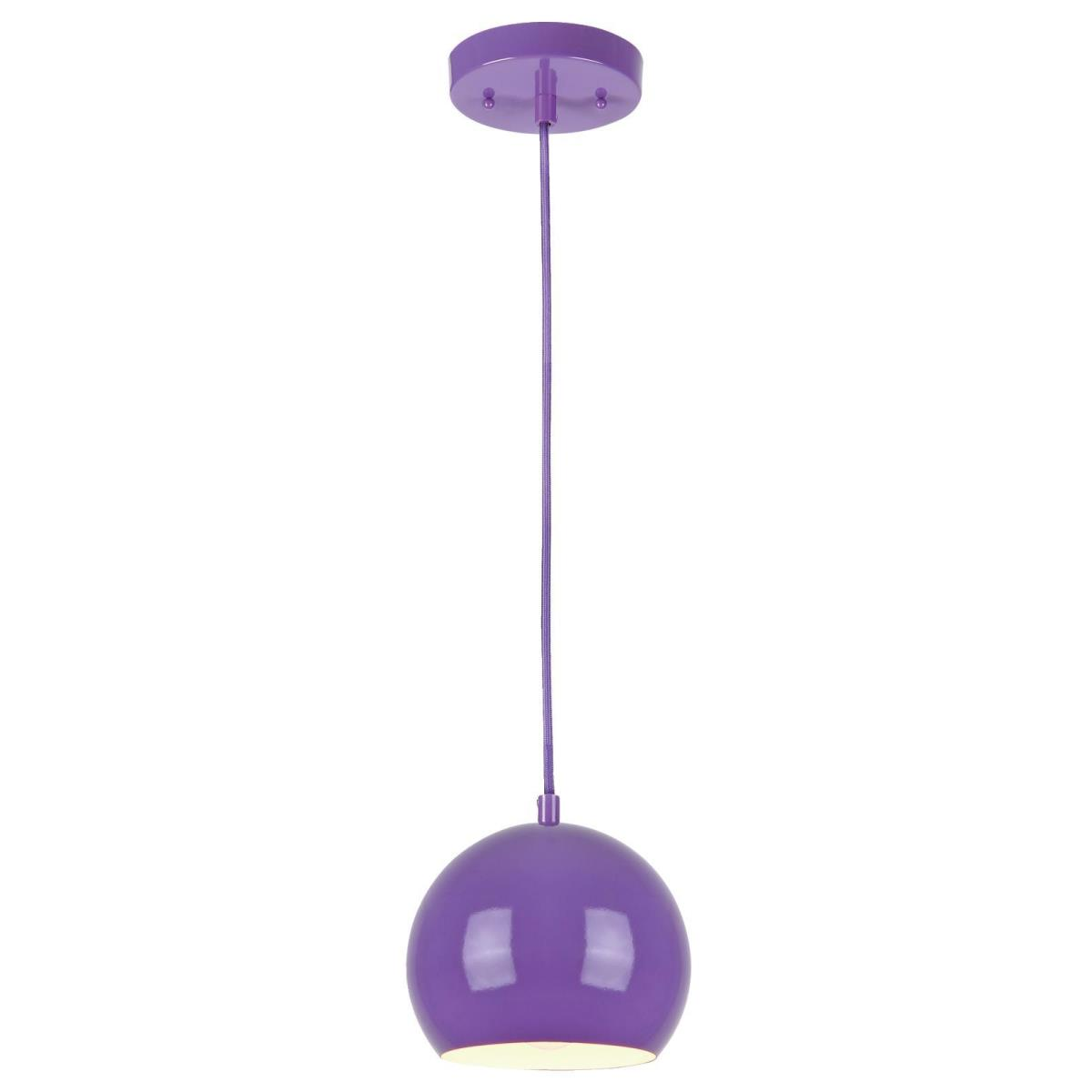 1 Light Adjustable Mini Pendant Purple Finish with Metal Shade