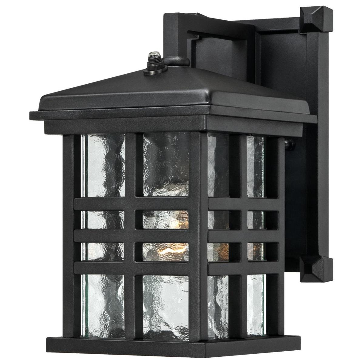 1 Light Wall Fixture with Dusk to Dawn Sensor Textured Black Finish with Clear Water Glass