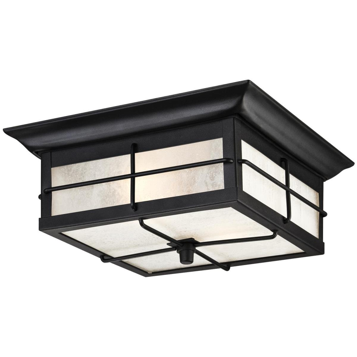 2 Light Flush Textured Black Finish with Frosted Seeded Glass