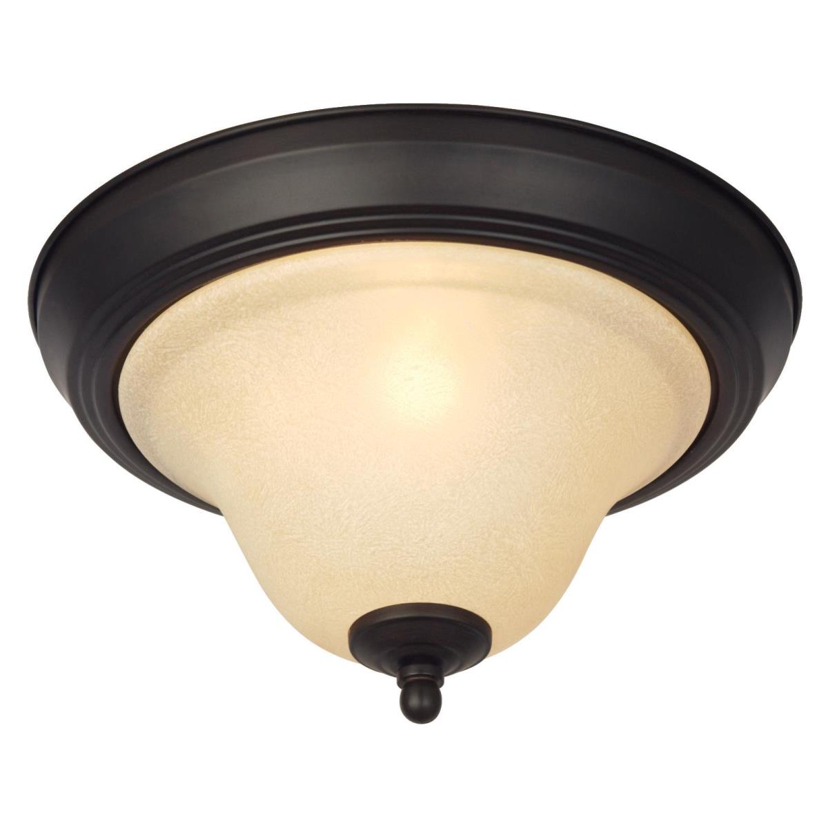 1 Light Flush Ceiling Fixture Dark Bronze Finish with Antique Amber Glass